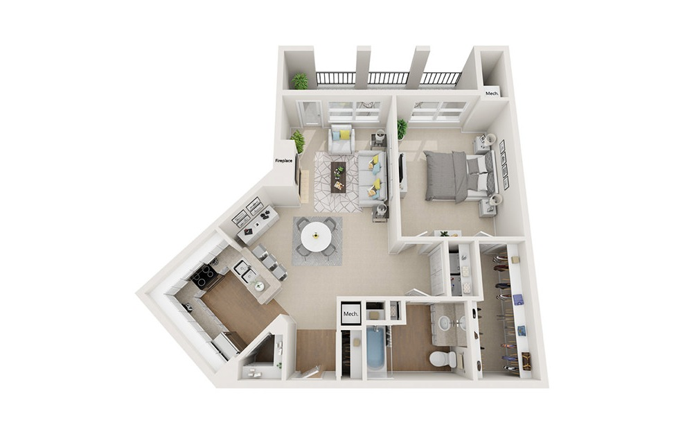 Arlington - 1 bedroom floorplan layout with 1 bath and 919 square feet. (3D)