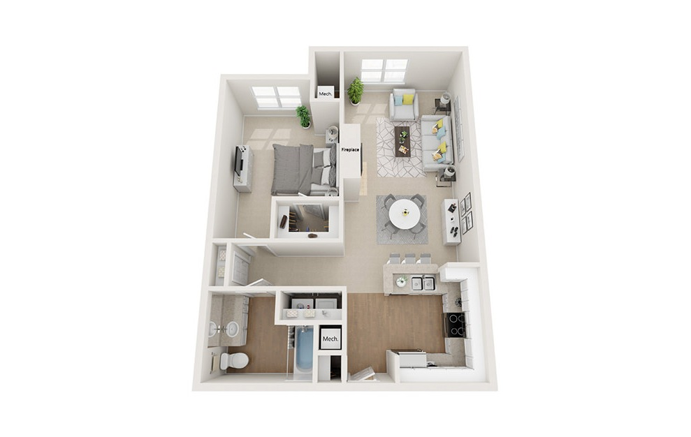 Charles - 1 bedroom floorplan layout with 1 bath and 859 square feet. (3D)