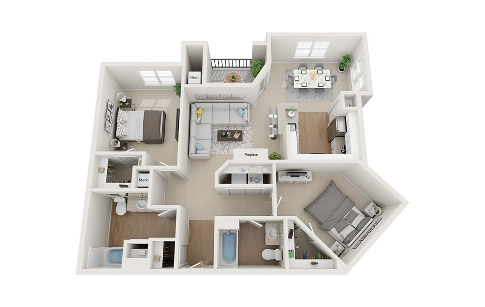 Clarendon - 2 bedroom floorplan layout with 2 baths and 1200 square feet. (3D)