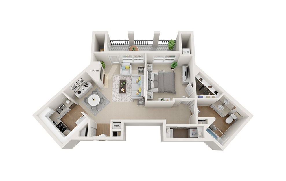 Commonwealth - 1 bedroom floorplan layout with 1 bath and 822 square feet. (3D)