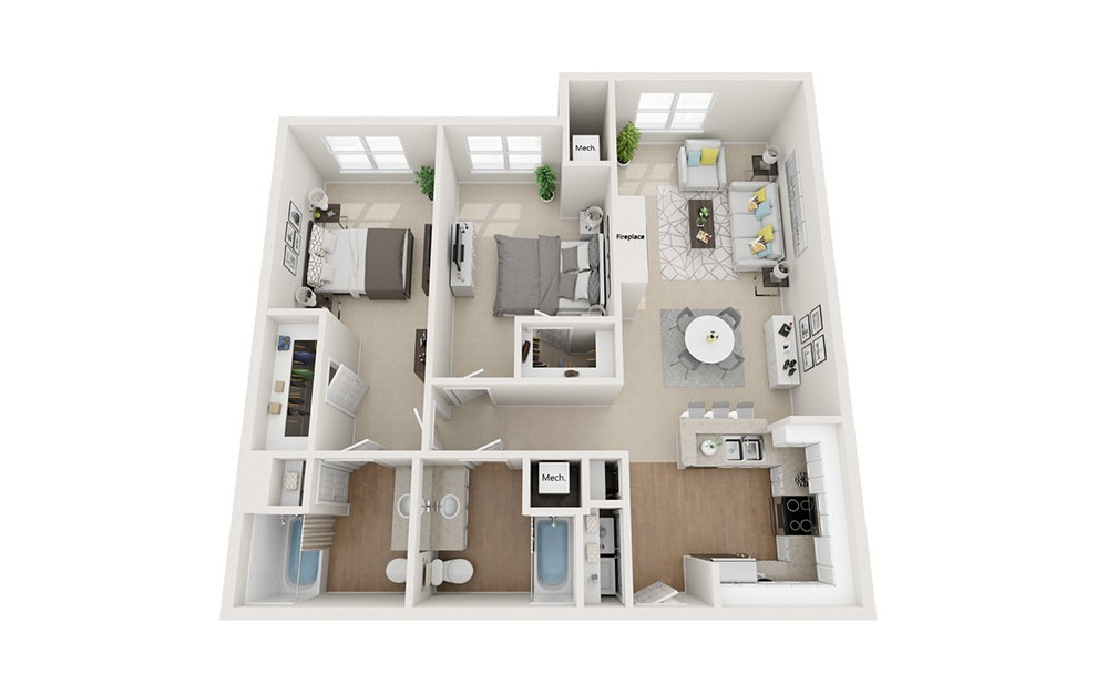 Exeter - 2 bedroom floorplan layout with 2 baths and 1158 square feet. (3D)