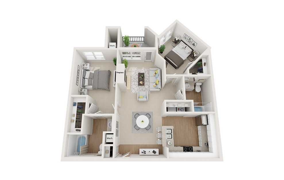 Hanover - 2 bedroom floorplan layout with 2 baths and 1077 square feet. (3D)
