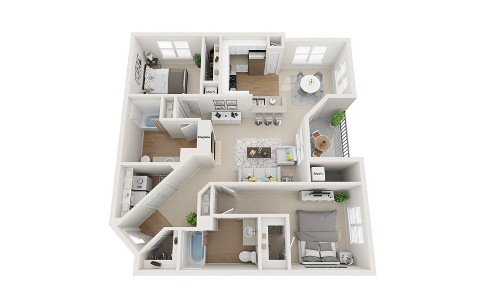 Huntington - 2 bedroom floorplan layout with 2 baths and 1108 square feet. (3D)