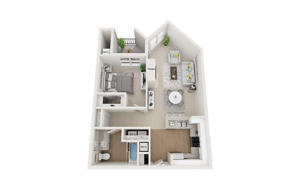 Newbury - 1 bedroom floorplan layout with 1 bath and 793 square feet. (3D)