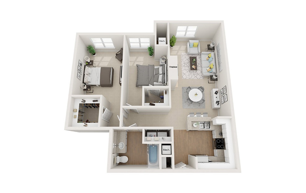 Park - 2 bedroom floorplan layout with 1 bath and 1076 square feet. (3D)