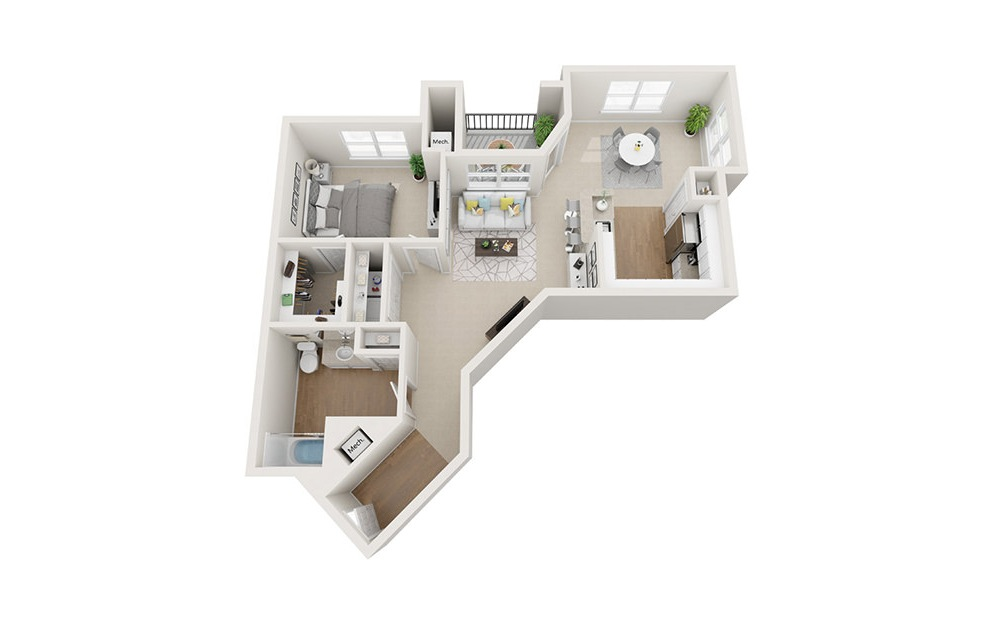 Tremont - 1 bedroom floorplan layout with 1 bath and 927 square feet. (3D)
