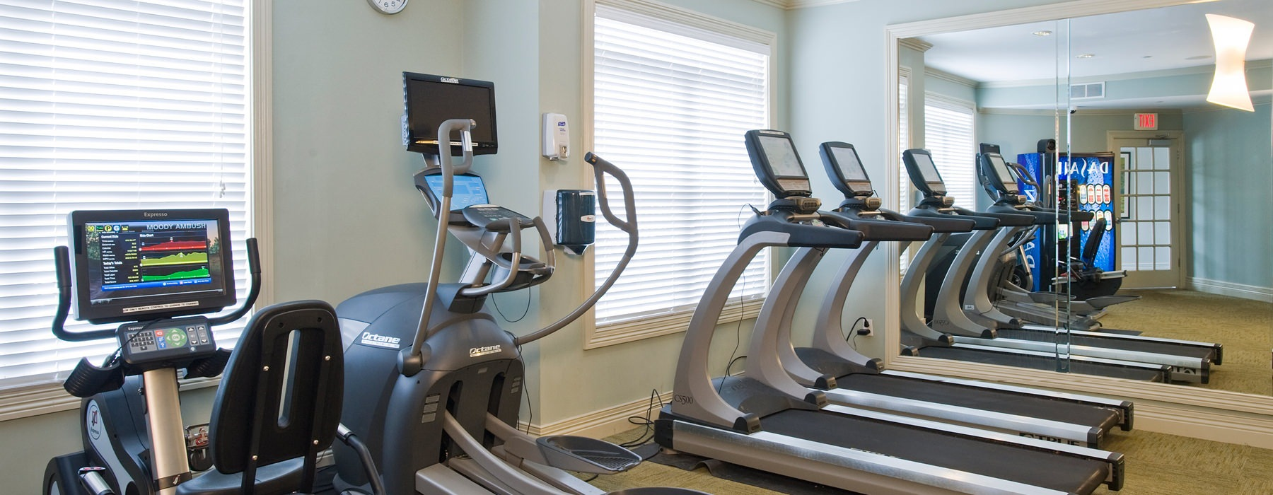 Fitness center with free weights, treadmills and ellipticals.